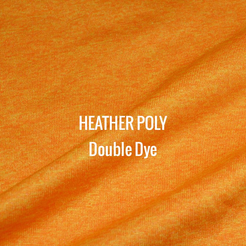 """HEATHER POLY"" Double Dye I Shirt Fabric I 100% Performance poly tech fabric. Multiple woven colors blend for a heather appearance. Top of the line moisture management. Smooth touch feel. Texture looks and works great with screen printing"