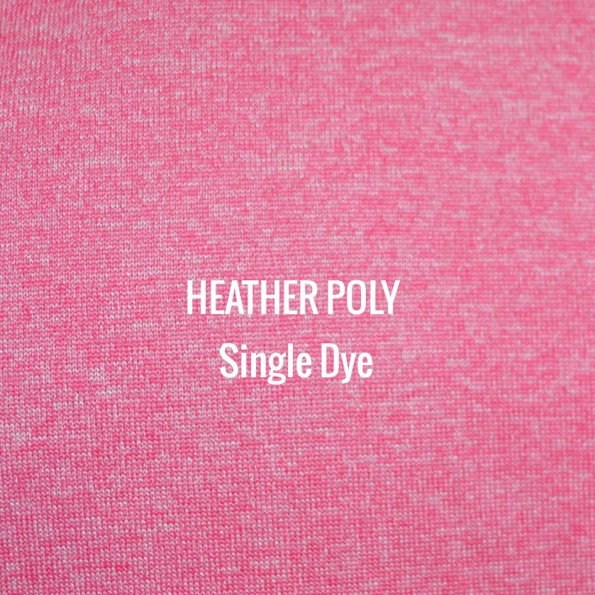 """HEATHER POLY"" Single Dye I Shirt Fabric I 100% Performance Poly tech fabric. Woven color with white blend for a heather appearance. Top of the line moisture management. Smooth touch feel. Texture looks and works great with screen printing."