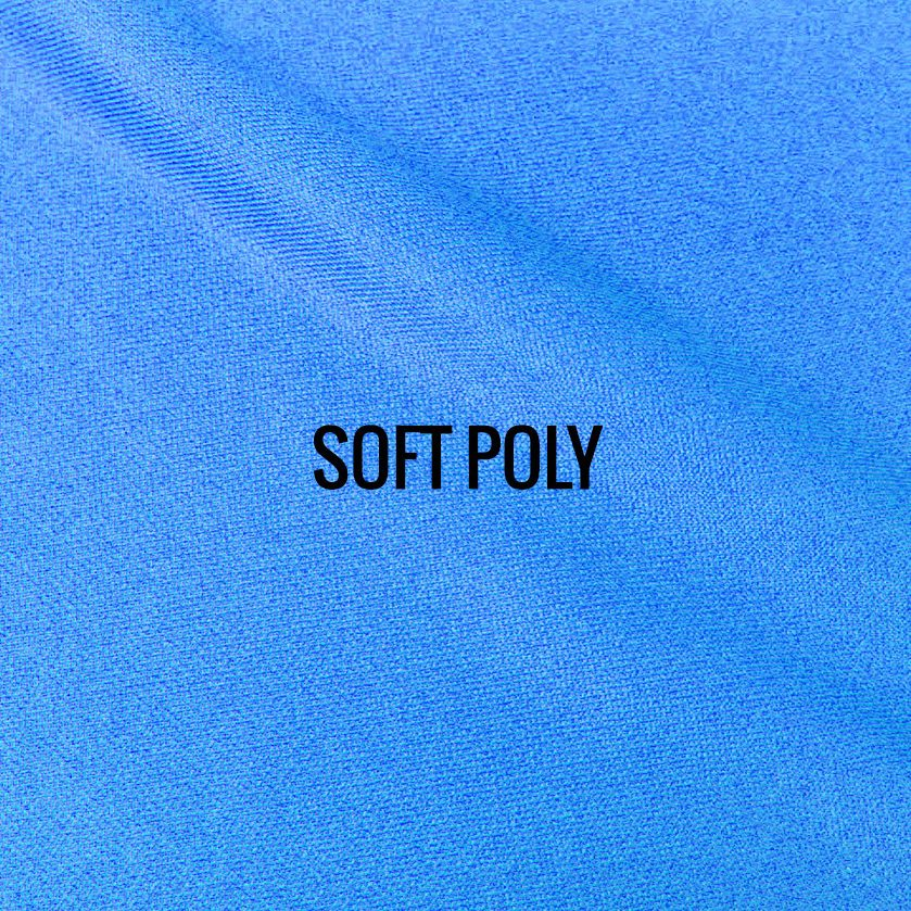 """SOFT POLY"" I Shirt Fabric I Breathable performance fabric. Super soft feel of cotton. Lightweight and smooth against the skin. Available in Heather or Solid. 100% Performance Poly. ALSO AVAILABLE IN RECYCLED POLY."